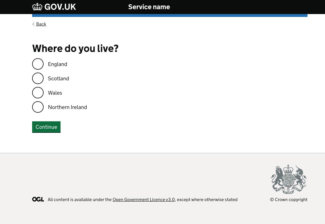 Gov Uk website form example