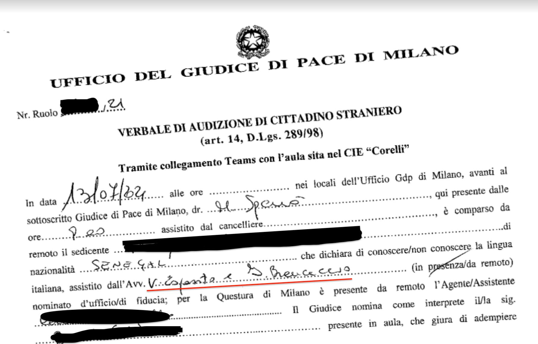Verbale di audizione dell'Ufficio del giudice di pace di Milano