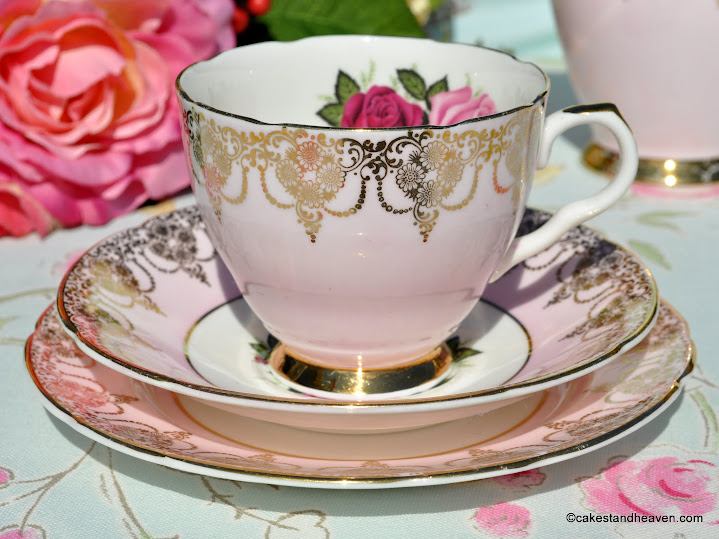 Imperial vintage fine bone china tea cup trio in pale pink and gold