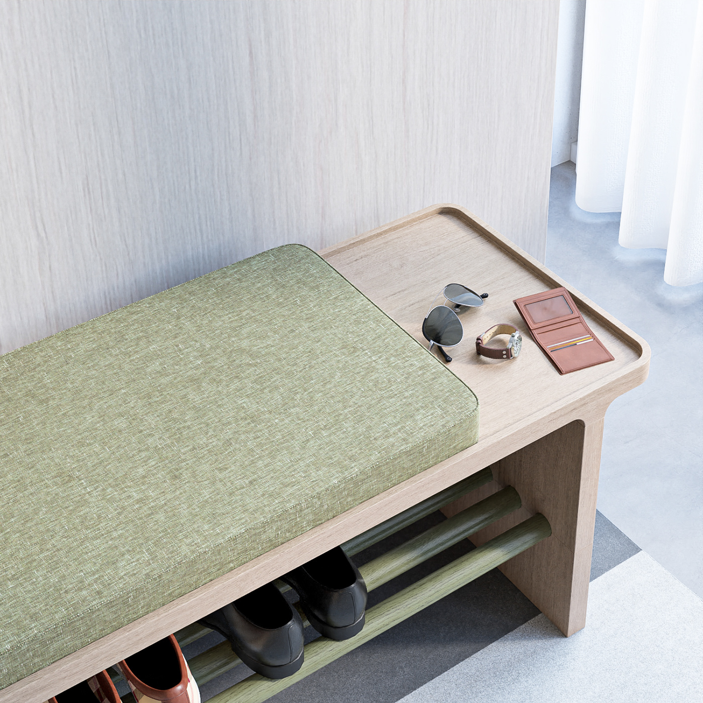 bench design furniture minimal product design  seat Shoe rack wood