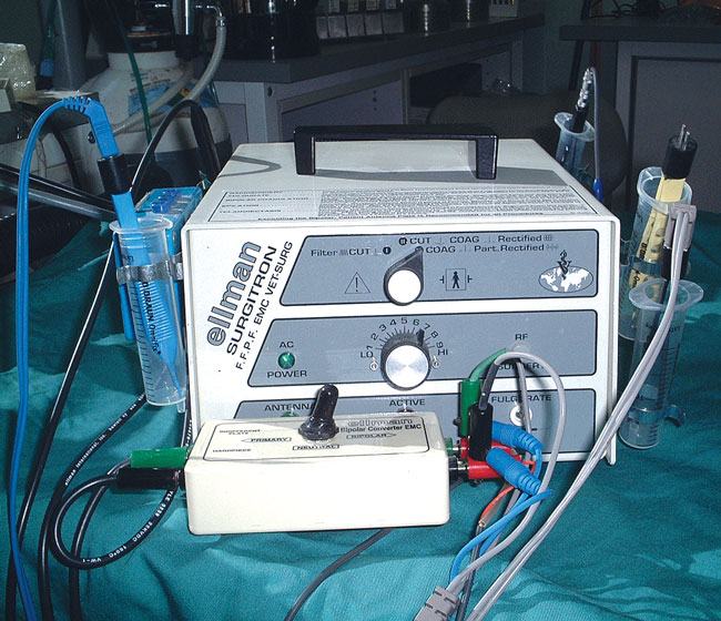 This unit has been modified to allow multiple bipolar or unipolar hand pieces with a flick of a switch