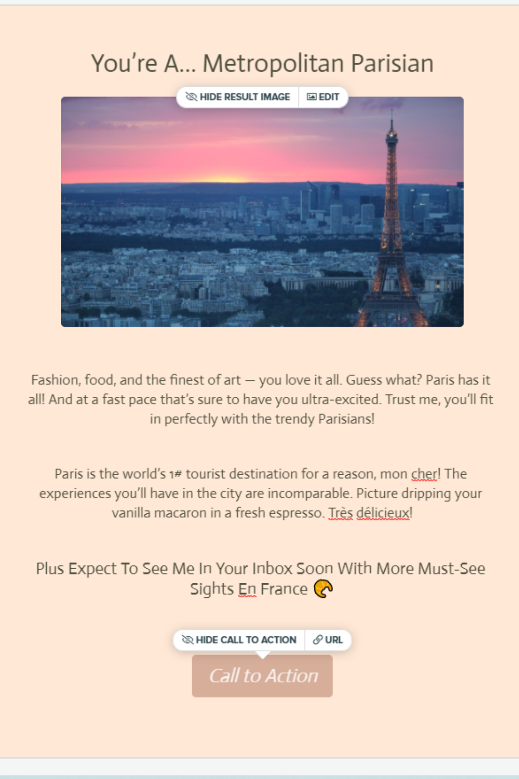 "picture quiz result for travel quiz with ""You're a Metropolitan Parisian."""