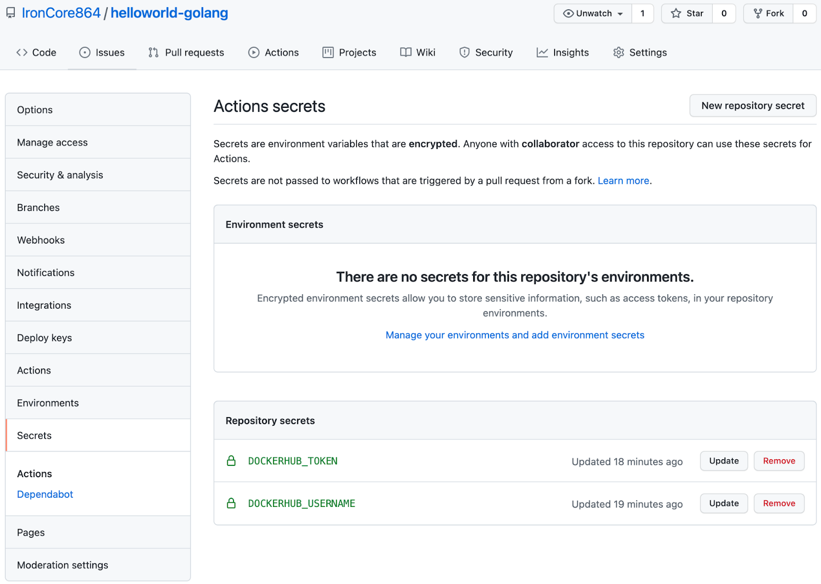 Managing secrets from the GitHub repository
