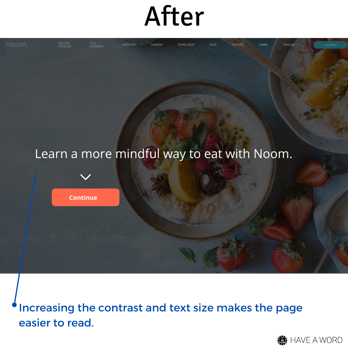 Noom's home page improvement
