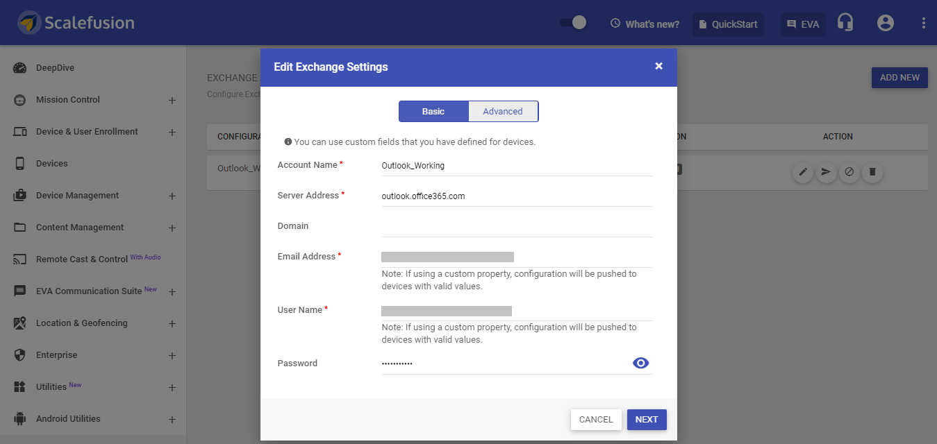 Secure Email and exchange settings