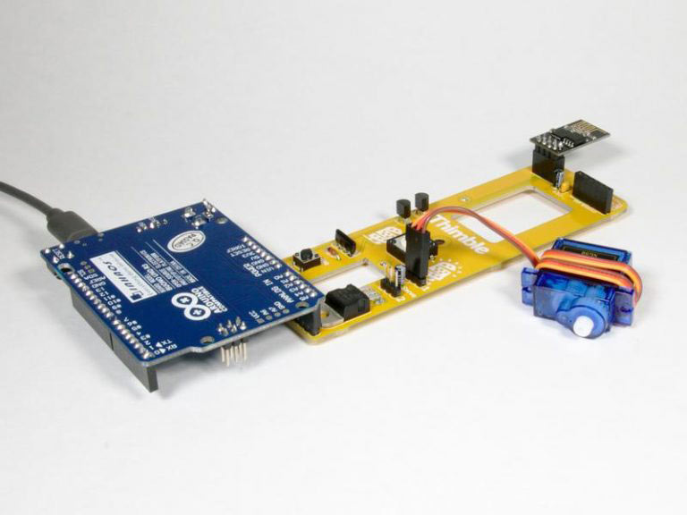 This is one of Thimble's Wifi Light Switch STEM kits built completely.