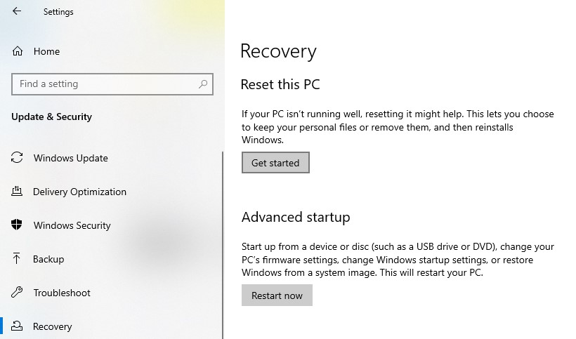 Recovery page in Settings