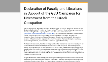 Declaration of Faculty and Librarians in Support of the GSU Campaign for Divestment from the Israeli Occupation