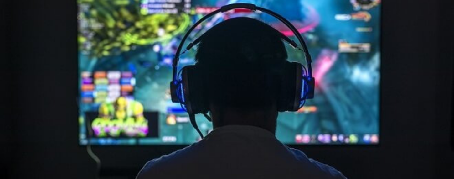 player playing video games
