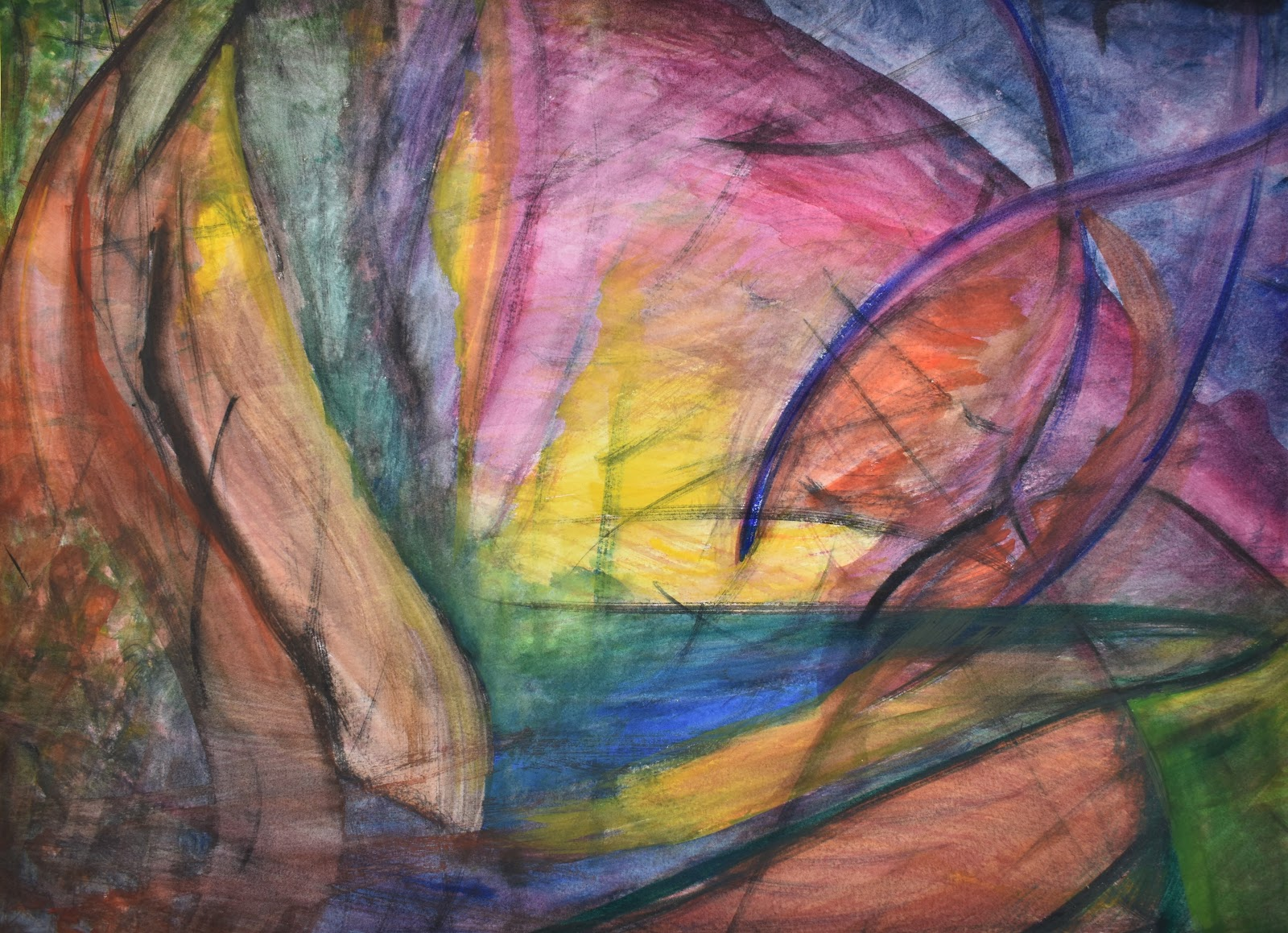 abstract painting with curved lines and areas of various colors