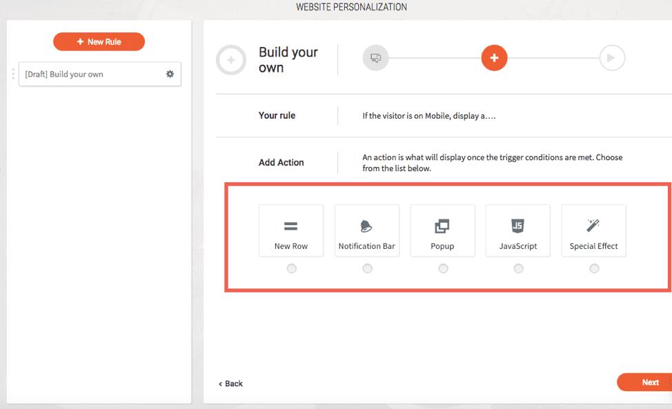 Website personalization dashboard