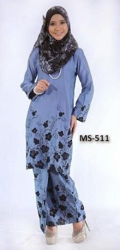 Baju Kurung Pahang Biru Kelabu (Blue Grey)