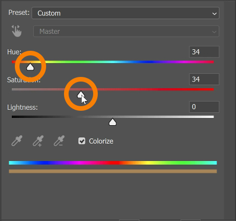 Using the Hue slider, adjust it towards the yellow-orange area to achieve a warm set of sunrays.