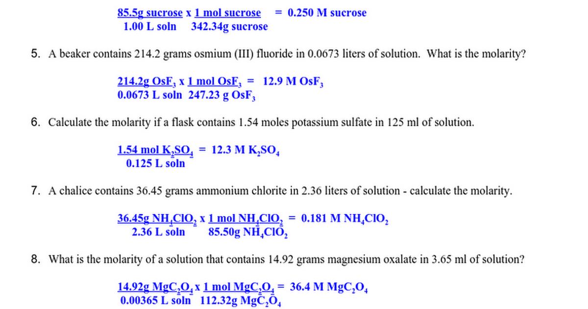 Molarity Worksheet 1 ANSWERS.docx - Google Docs