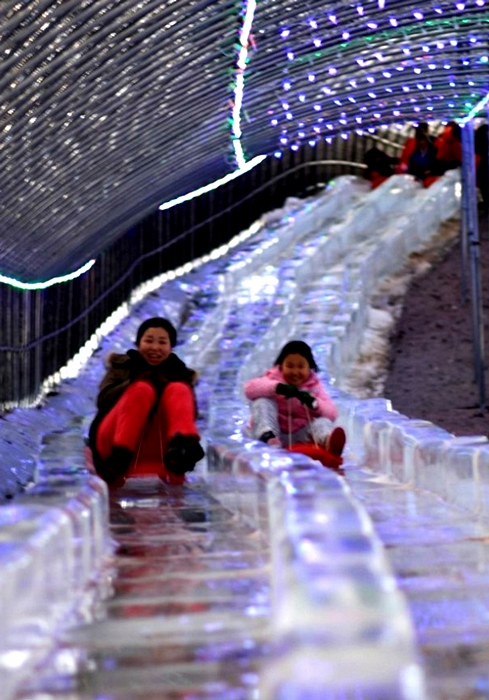 chilgapsan ice fountain festival alps village family ice sculptures sledding bobsledding food snacks restaurant