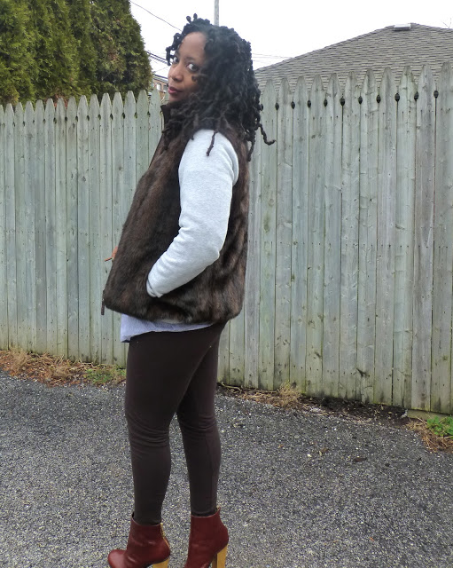 faux fur vest and leggings