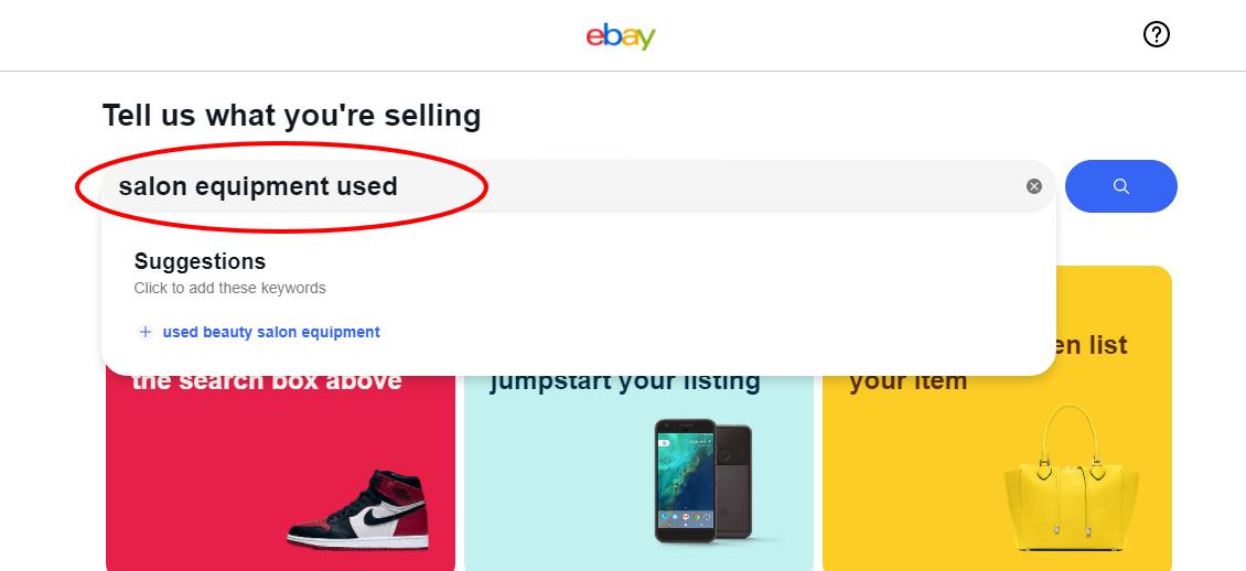 selling salon equipment on eBay