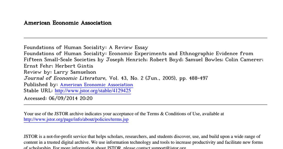 foundations of human sociality a review essay