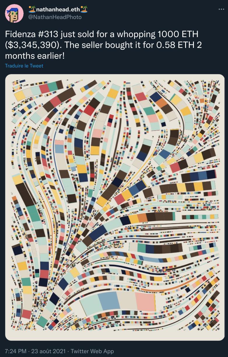 L'œuvre Fidenza #313 vendue pour 1 000 ethers (3,3 millions de dollars)