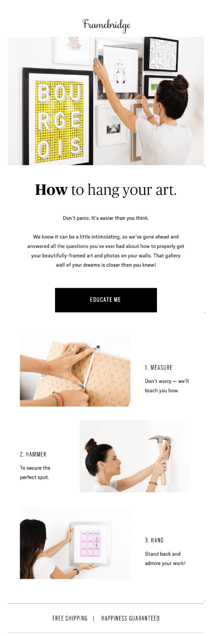 post-purchase email to show how to hang pictures