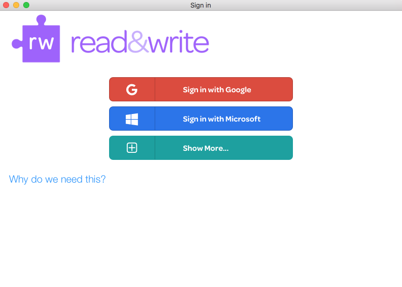 Read&Write sign in page