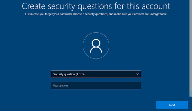 Security questions in installing Windows 10