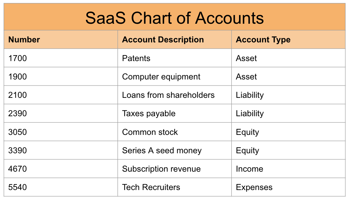 SaaS Chart of accounts example