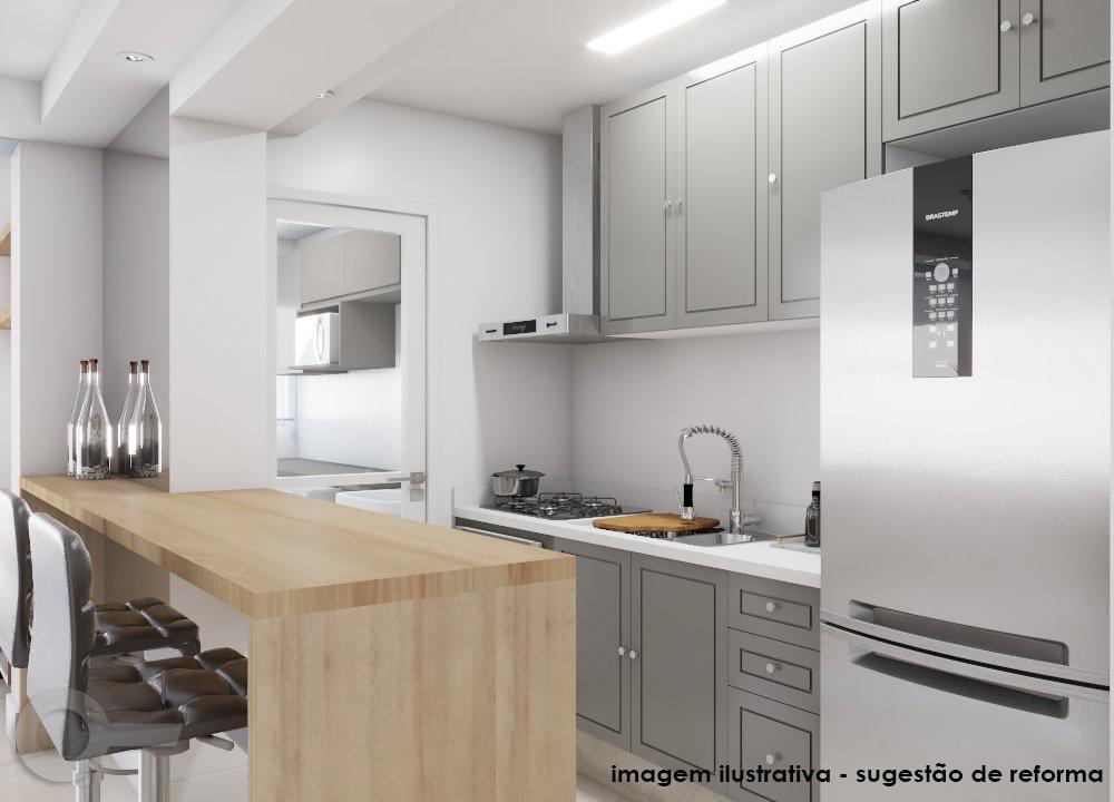 Cozinha americana de apartamento de 67m² na Aclimação
