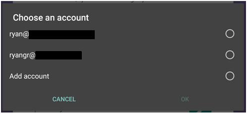 Google account selection screen