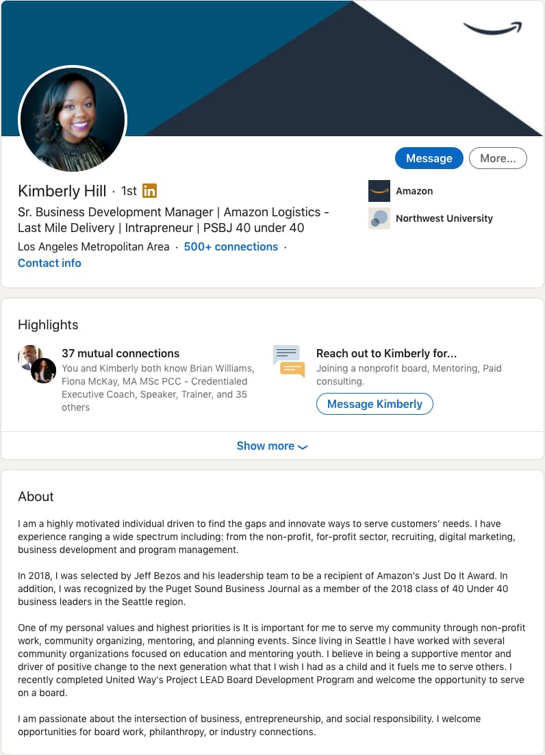 Strong LinkedIn summary example