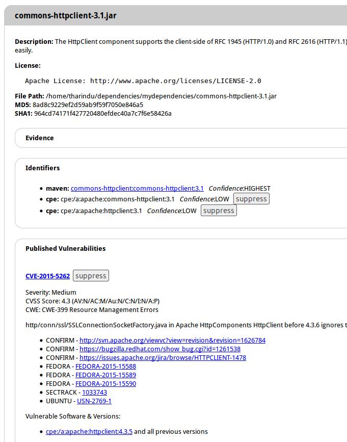 SECURITY INTERNAL   COM: OWASP Dependency Check CLI