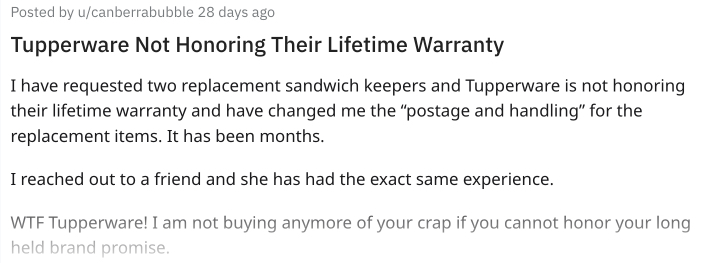 Tupperware customer not happy with Lifetime Warranty