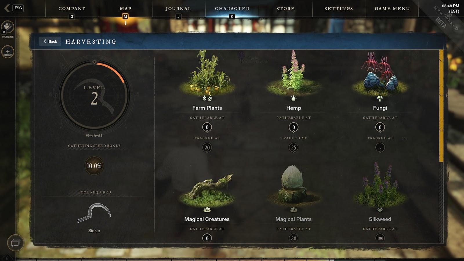 New world Harvesting skill