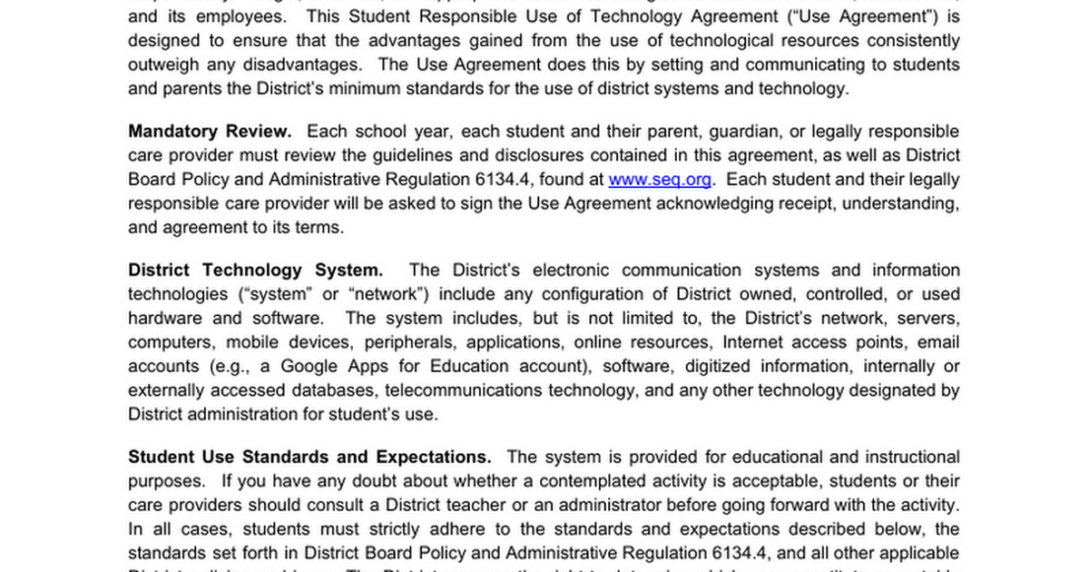 Student Responsible Use Of Technology Agreement Google Docs
