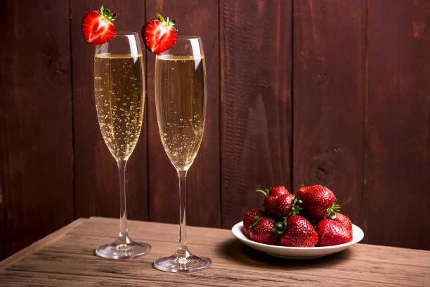 Strawberries And Champagne As A Classic Combination To Relax Stock ...