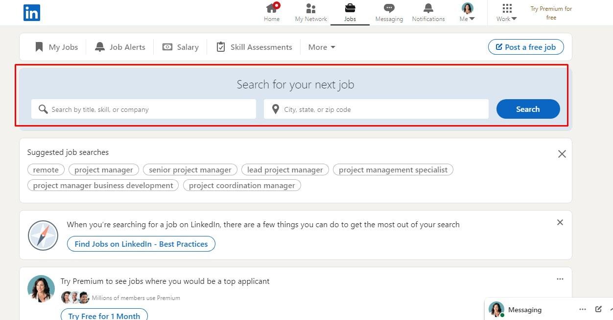 nhập từ khóa ngành nghề cũng như địa điểm mà các bạn muốn làm việc và nhấn Search.