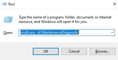 msdt.exe -id MaintenanceDiagnostic