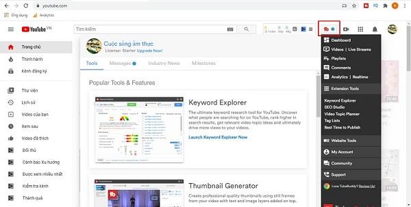 Màn hình điều khiển của công cụ nghiên cứu từ khóa Youtube TubeBuddy
