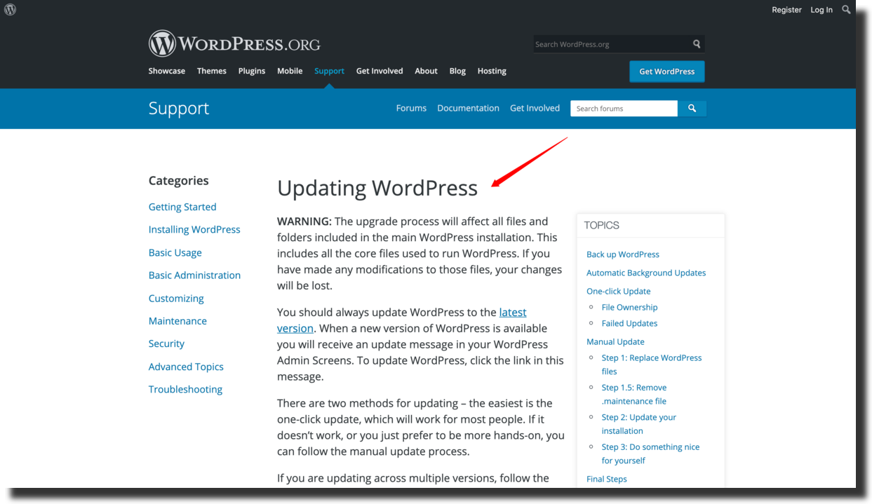 WordPress updates