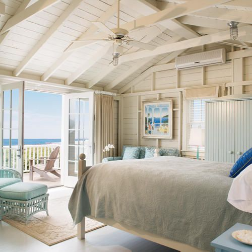 Beach Themed Bedroom with Distressed Wood