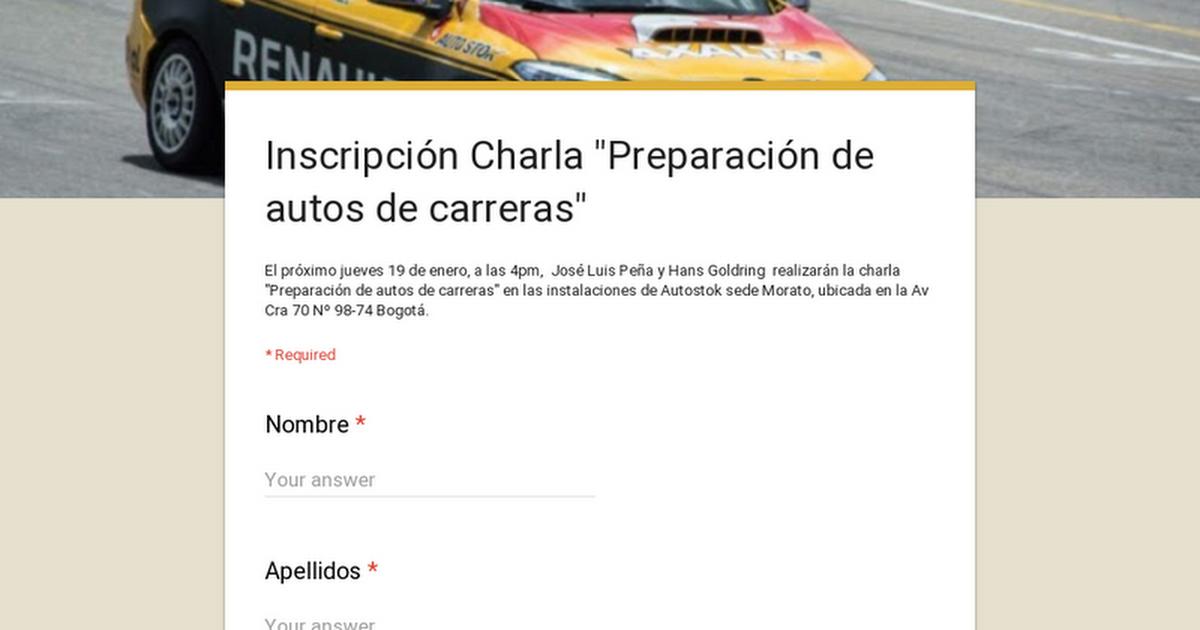 """Inscripción Charla """"Preparación de autos de carreras"""""""