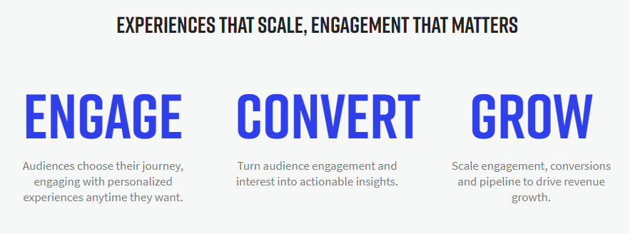 Three big, blue words: engage, convert and grow that describe on24