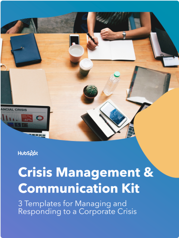 cover image of hubspot's crisis management and communications kit