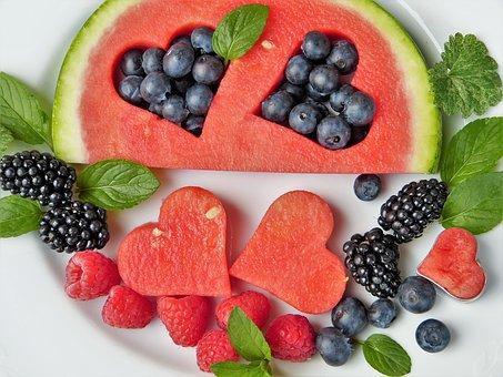Frutas, Melancia, Coração, Mirtilos
