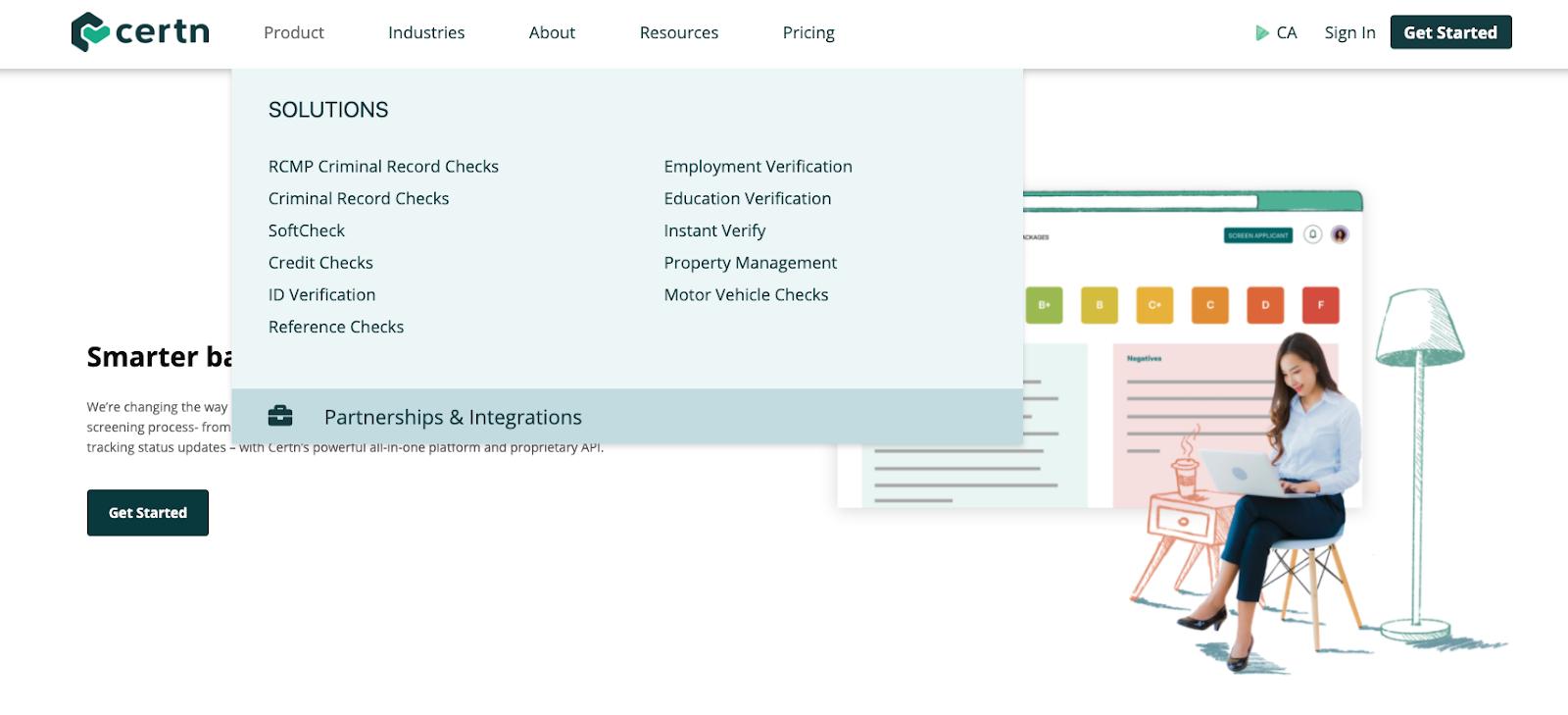 Certn website: solutions tab.