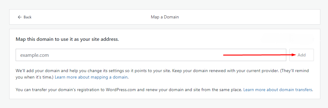 Kolom domain untuk domain mapping di WordPress.com