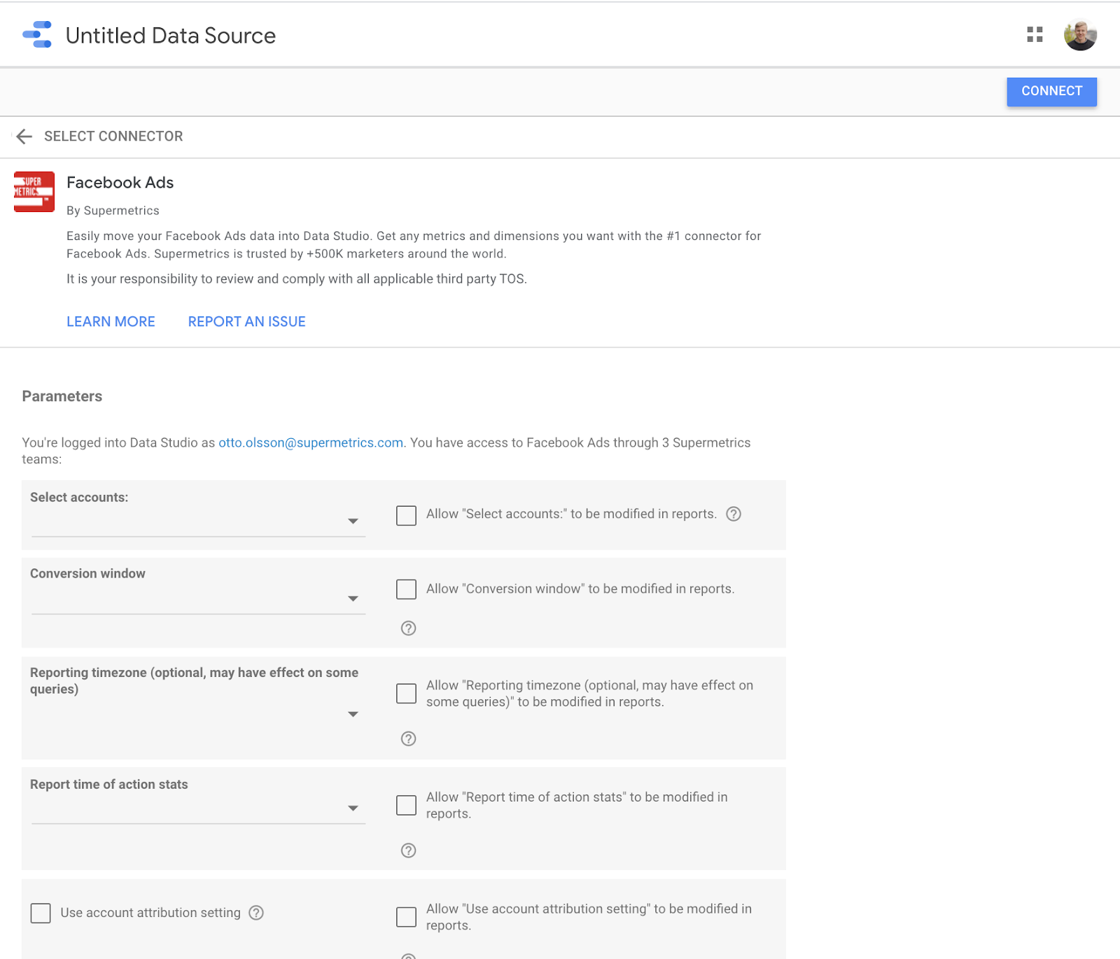 connect data source, facebook ads, to google data studio parameters view