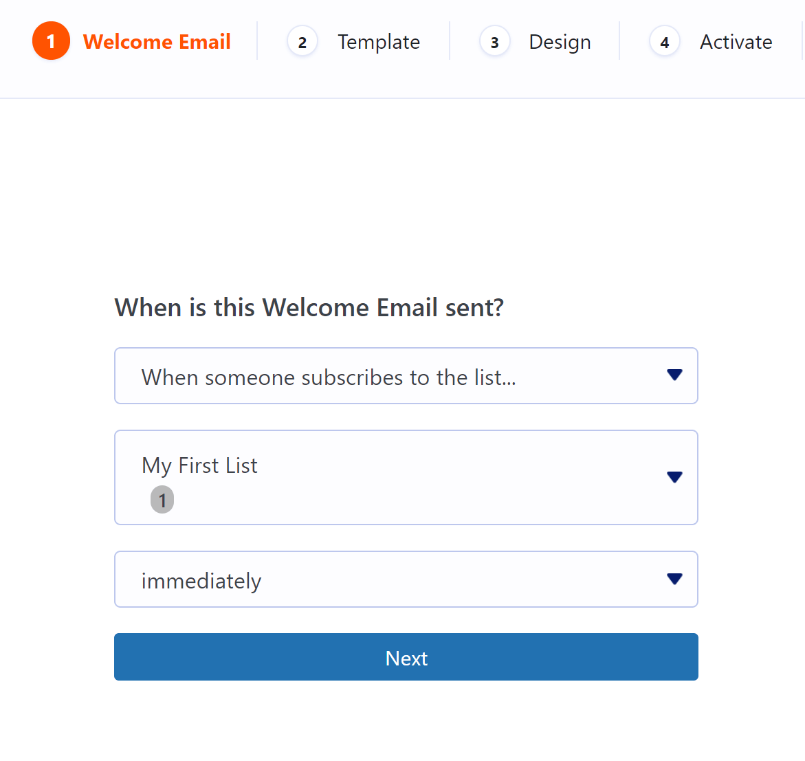 Welcome email configuration