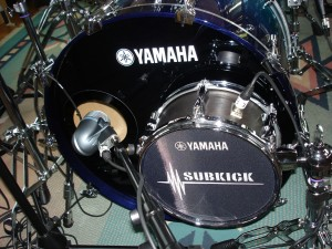 Kick drum mic and sub-kick mic