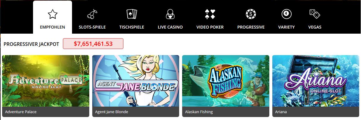 Progressiver Jackpot auf Casino Royale Vegas.